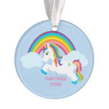 rainbow unicorn ornaments keepsake ornaments zazzle