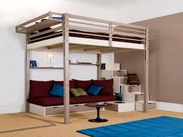 bedroom lofted bed for adults be equipped with brown wooden bunk