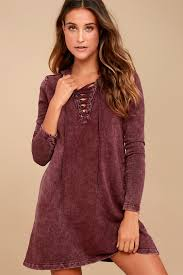 maroon sweater dress others follow andie lace up dress hooded sweater dress
