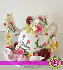 sugar divas cakery teapot with flowers