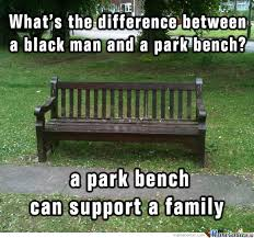 Bench Meme - difference between a black man and a park bench by mieder meme center