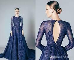 navy blue evening dresses lace formal 2016 elie saab prom dresses