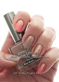 peach and glitter ombre nails funky fingers factory