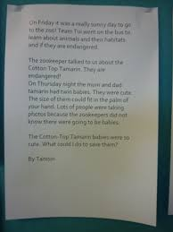 zoo writing paper team tui 2017 team tui went to wellington zoo after our trip we wrote some stories about our favourite animals at the zoo we used the information we learnt to write our