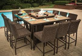 Agio Wicker Patio Furniture Agio Luxury High Top Fire Pit Table Set 8 Bar Chairs Ml