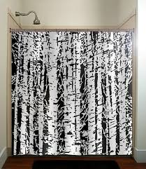 forest woodland white birch trees shower curtain bathroom
