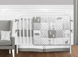Gray Baby Crib Bedding Grey And White Woodsy Deer Boy Unisex Baby Crib Bedding Set