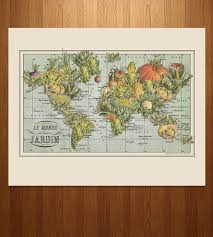 World Map Art Print by Jardin Monde Vegetable World Map Print Art Prints U0026 Posters