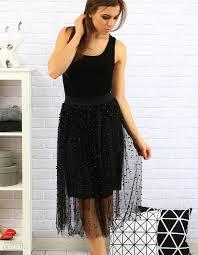 spodnica tiulowa spódnica tiulowa z perełkami czarna cy0125 ceny i opinie