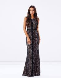 bariano dresses high neck lace gown with lace detail by bariano