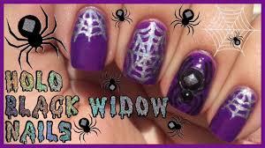 holo spider webs u0026 3d black widow nail art tutorial halloween