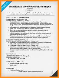 Example Warehouse Resume Warehouse Worker Resume Example Examples For Warehouse Worker