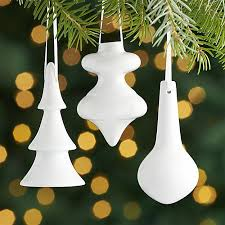 white porcelain ornaments crate and barrel