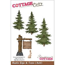 amazon com cottagecutz die cuts 4 by 6 inch rustic sign and trees