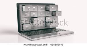 computer data storage concept filing cabinet stock illustration