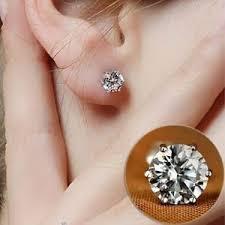 cubic zirconia stud earrings women s 18ct white gold plated single 5mm cubic zirconia