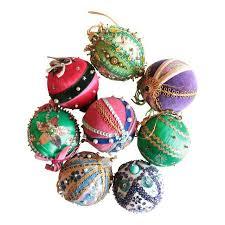 vintage beaded ornaments set of 8 chairish