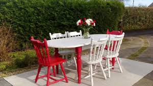 stunning red white extending dining table u0026 6 chairs shabby chic