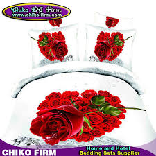 Cotton Queen Duvet Cover 100 Cotton Queen Size Red Rose 3d Duvet Cover Sets With Flat Sheet