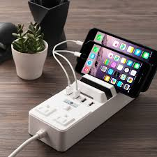 charging station organizer 2 outlet 4 usb port charging station with multi device dock