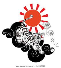 traditional japanese tiger flower stock vector