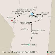 Antelope Canyon Arizona Map by Us National Park Tours U0026 Lake Powell Vacation Globus