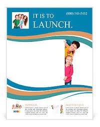 beautiful fun family behind a white blank flyer template u0026 design