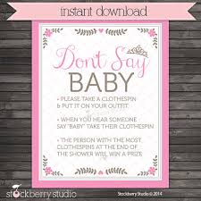 clothespin baby shower baby shower clothespin princess don t say baby shower