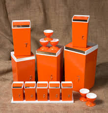 orange kitchen canisters complete 11 set of 1970s kitchen canisters by nally ware