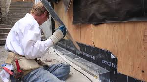 waterproofing the cement curb next to exterior wall plywood