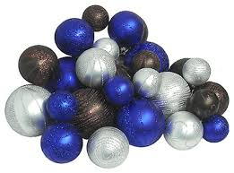 shatterproof blue chocolate and silver ornaments