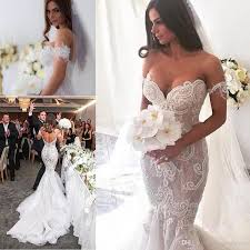 gorgeous arabic lace mermaid wedding dresses 2017 shoulder