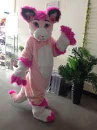 customized pink fursuit husky wolf fox mascot costume animal suit