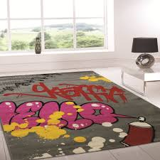 Modern Rug Uk Retro Funky Graffiti Multi Colour Abstract Rug Buy Rugs In