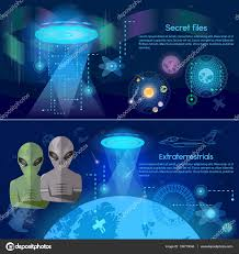 ufo banner aliens in space secret files u2014 stock vector