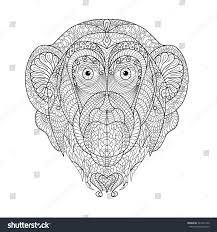 vector monkey head patterned design symbol stock vector 327411242