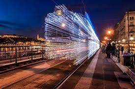 twinkling led lights make budapest tram look like it s traveling