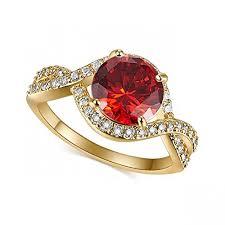 rings for leobon engagement party rings for women garnet white cz