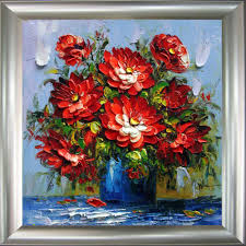 handmade painting abstract palette knife painting flowers home