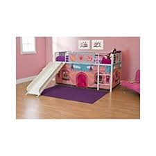 Amazoncom Girls Loft Bed With Slide Princess Tent Canopy Castle - Girls bunk beds with slide