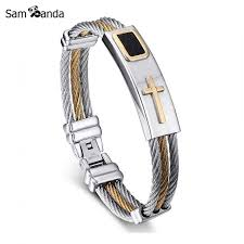 bracelet man silver stainless steel images 2018 new gold silver jesus cross bracelet men jewelry stainless jpg