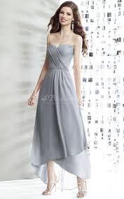 gray chiffon a line sweetheart neck high low bridesmaid dresses