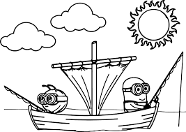 minions and cydonians funny fishing competition coloring page
