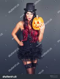 beautiful witch black gothic halloween costume stock photo