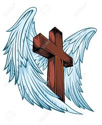 wings with wooden cross vector illustration royalty free