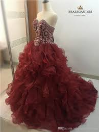new elegant ball gown wine red quinceanera dresses 2017 beaded