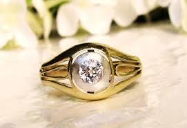 art deco men u0027s diamond ring 0 33ct bezel set old mine cut diamond
