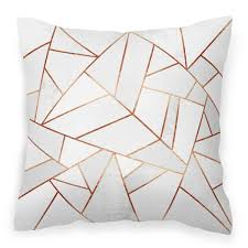 white stone u0026 copper geometric faux suede cushion white stone