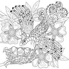 zentangle sketch bird on nest hand drawn doodle stock vector