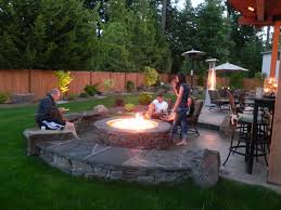 Paver Patio Ideas by Entrancing Fire Pit Ideas On Rectangular Patio Style At Bedroom